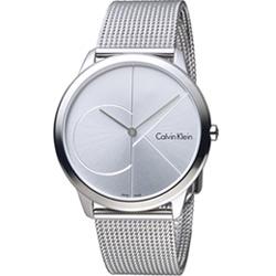 Calvin Klein minimal  大 ck 簡約時尚腕錶-銀/40mm