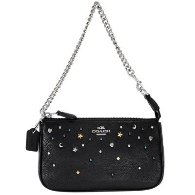 COACH黑色荔枝紋全皮繁星貼飾手提掛小包