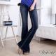 Victoria  V字鑽中高腰靴型褲-中深藍 product thumbnail 1