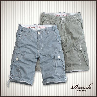【 Roush 】直條雙口袋水洗短褲 (3色)