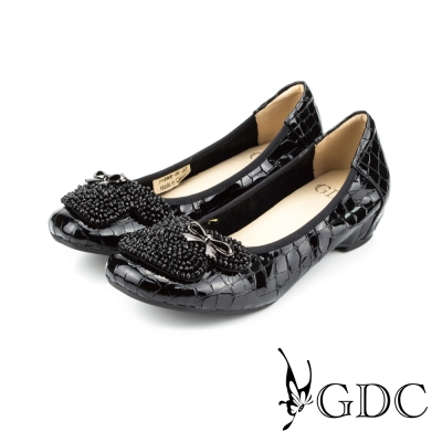 GDC-水鑽寶石蝴蝶飾扣鱷魚紋漆皮低跟娃娃鞋-黑色