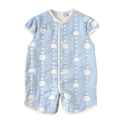 Hoppetta 可愛動物六層紗成長型睡袍(藍)