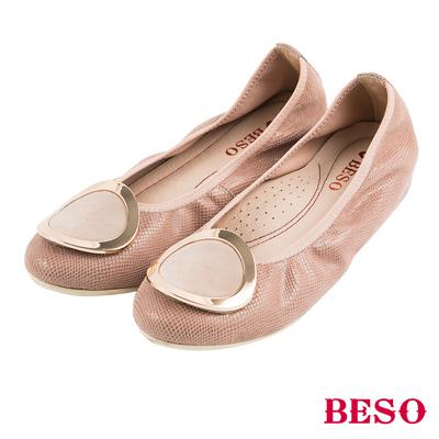 BESO都會休閒 圓形五金鬆緊帶內增高娃娃鞋~卡其