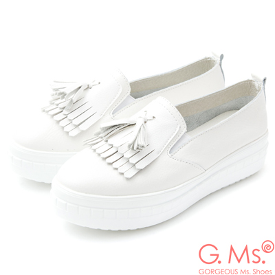 G.Ms.牛皮厚底鬆糕流蘇懶人休閒鞋G款-白色