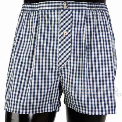 BURBERRY 刺繡戰馬三釦式格紋四角內褲-藍