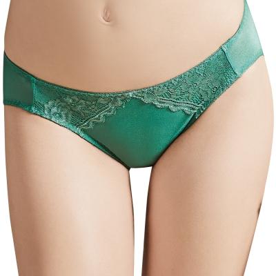 思薇爾-星紗系列M-XL蕾絲低腰三角褲-長石綠