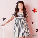 Little moni 多彩條紋洋裝 黃色