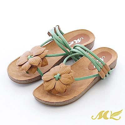 MK-真皮手作-山芙蓉繞藤帶厚底楔型拖鞋-粉綠色