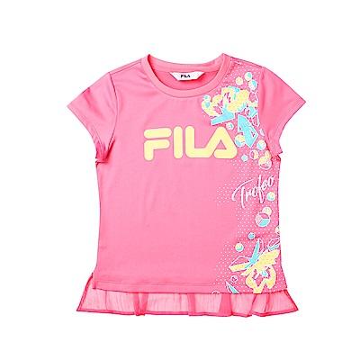 FILA KIDS 女童吸濕排汗上衣-桃粉5TES-4440-PC