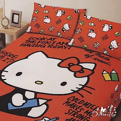 BUTTERFLY- Kitty凱蒂貓 搖粒絨刷毛雙人加大床包三件組-我的筆記本