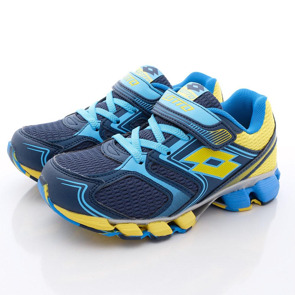 Lotto義大利運動鞋-彈力跑鞋-TH766藍黃中大童段HN