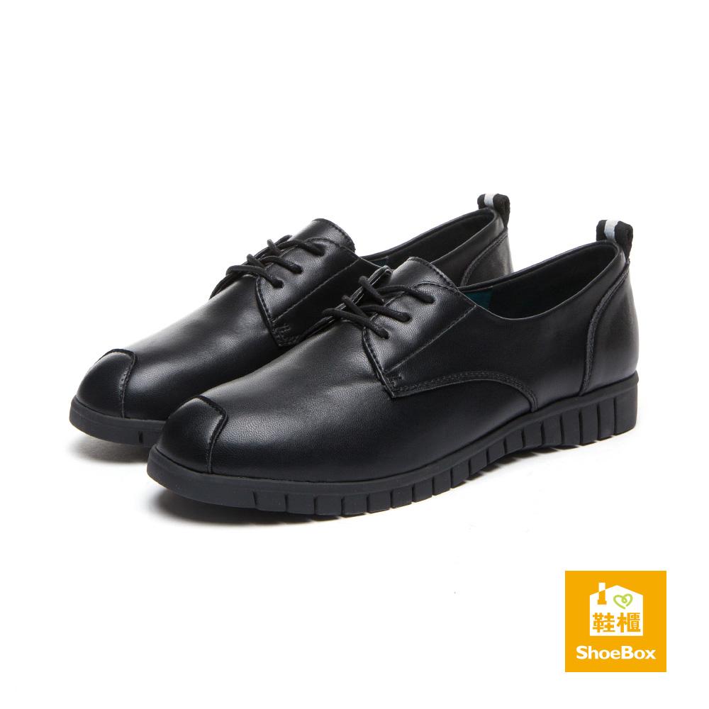 達芙妮DAPHNE ShoeBox系列 休閒鞋-拼接素色綁帶休閒鞋-黑