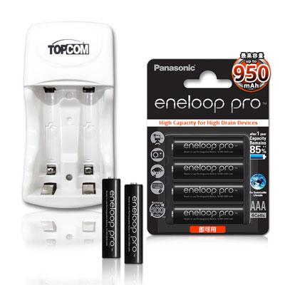 國際牌 eneloop PRO 4號950mAh充電電池(4顆入)+TOP智能雙迴充電器