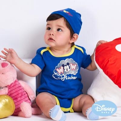 Disney Baby 雲朵米奇包屁衣附彈性帽 寶藍