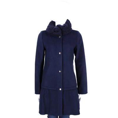 MARELLA-SPORT 深藍色毛線領羊毛釦式大衣