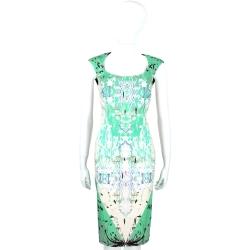 CLASS roberto cavalli 綠米拼色印花設計U領洋裝