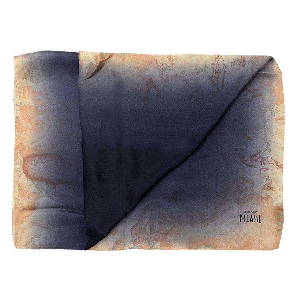 Alviero Martini 義大利地圖 暈染經典地圖絲巾-黑/地圖黃(70X200)