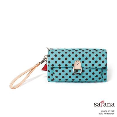 satana -929 Ladies 都會摩登 輕巧型手拿包-薄荷藍圓點