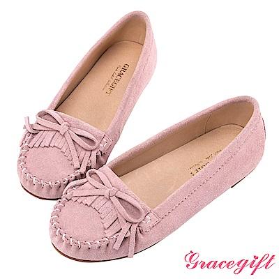 Grace gift-真皮蝴蝶結流蘇莫卡辛鞋 粉