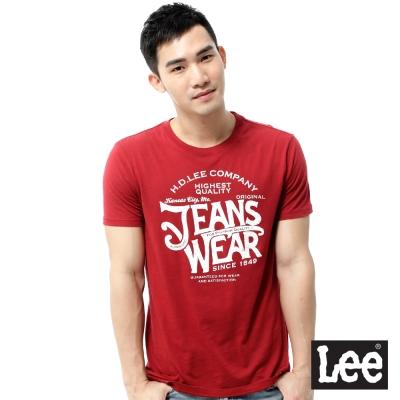 Lee-短袖T恤-圓領創意文字寬領邊-男款-暗紅