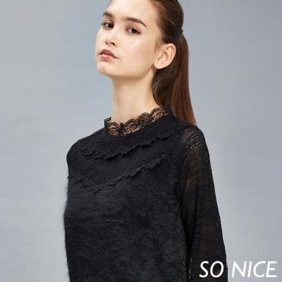 SO-NICE貂絨蕾絲設計上衣