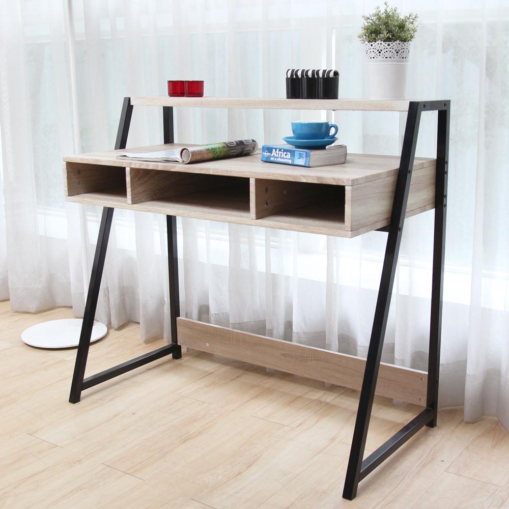 H&D 賽門工業風個性鐵架書架型書桌/不含椅_100*50*92cm