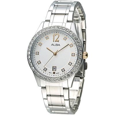 ALBA 甜蜜晴空晶鑽女錶-銀白x金色刻(AG8479X1)/36mm 保固二年