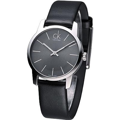 cK City 極簡知性風仕女腕錶 -黑/31mm