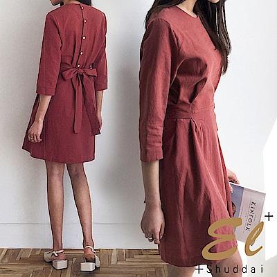 正韓 甜美腰身綁結後釦洋裝-(共三色)El Shuddai
