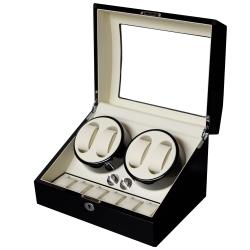 PARNIS BOX 自動上鍊盒4+6 日本馬達 黑白鋼琴烤漆 收藏錶盒 自動08-BW