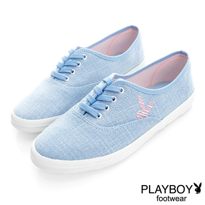 PLAYBOY 自然步調 舒適丹寧風休閒鞋-藍(女)