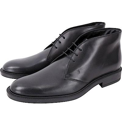 TOD'S 黑色牛皮踝靴款繫帶紳士鞋(男鞋)
