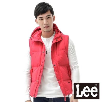 Lee-羽絨背心-前拉鍊防風-男款-紅