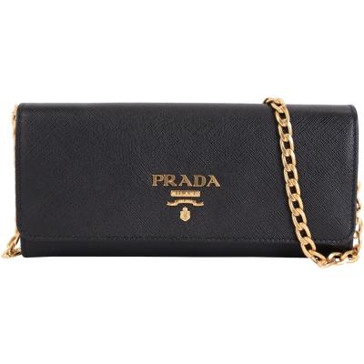 PRADA-Saffiano-金字浮刻LOGO牛皮釦式長夾-肩背包-黑色