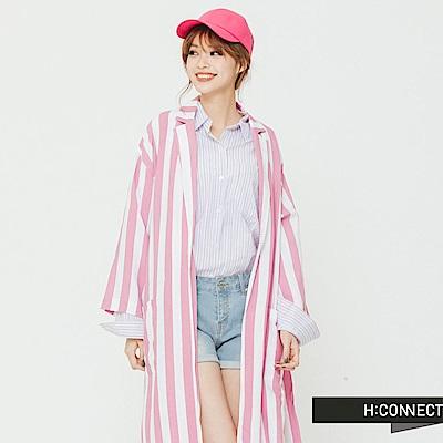 H:CONNECT 韓國品牌 女裝 -側開衩直條紋亮色外套-粉 - 動態show