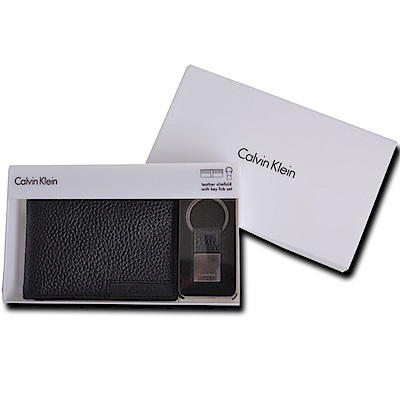 Calvin Klein CK 荔枝紋皮革短夾禮盒兩件組附鑰匙圈(紳士黑)