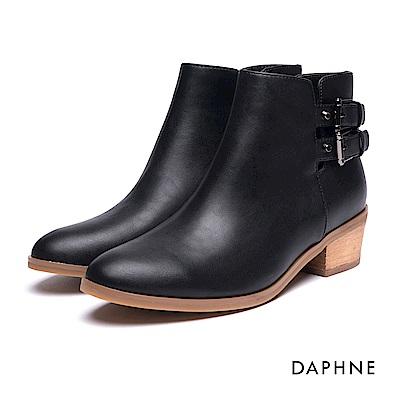達芙妮DAPHNE 短靴-皮帶雙釦拼接開口粗跟踝靴-黑
