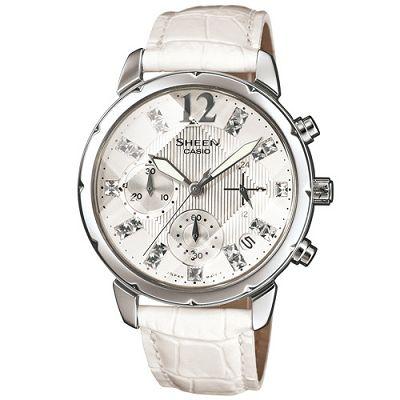 SHEEN 陽光閃亮鑽石切刻鏡面計時腕錶(SHN-5010L-7A)-白/37mm