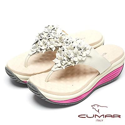CUMAR美姿大底-美姿圓弧大底真皮夾腳鞋-白色