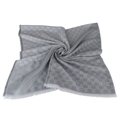 GUCCI 經典GG緹花 LOGO羊毛披巾(灰)