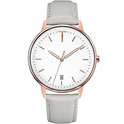 TYLOR 簡約質感皮革手錶-白X灰/38mm