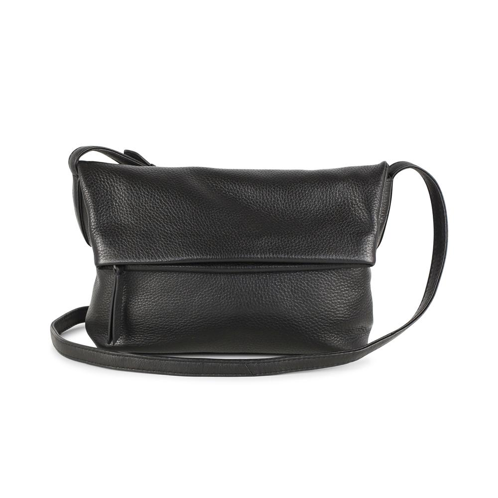 MARKBERG Cari 丹麥手工牛皮時尚反折肩揹包 斜背包/側揹包(極簡黑)