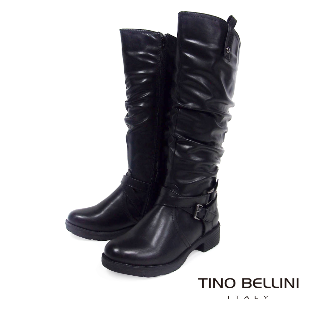 Tino Bellini中性時尚抓皺工程長筒靴_黑
