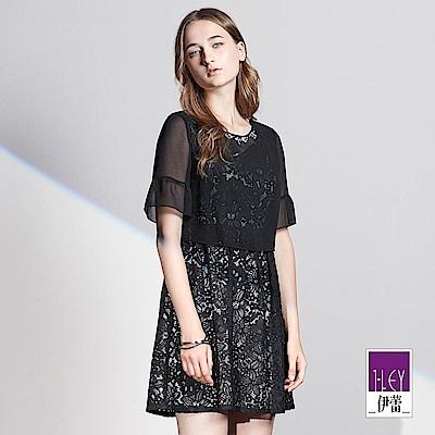 ILEY伊蕾 優雅雪紡剪接蕾絲洋裝(黑)