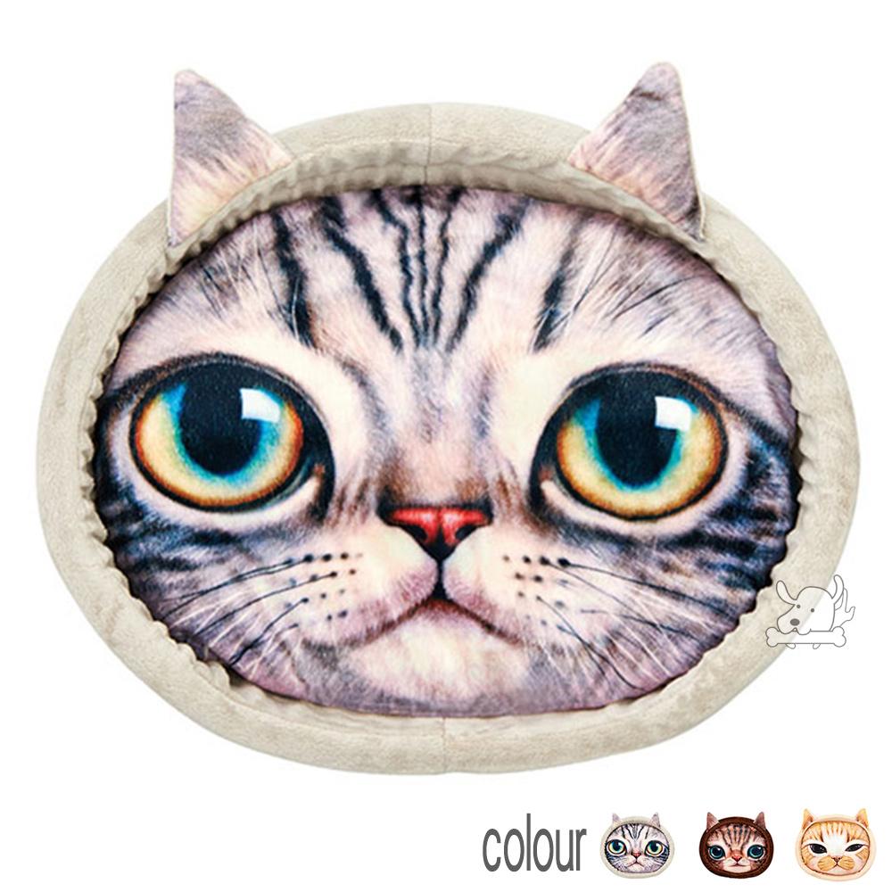 MARUKAN 日本 可愛貓臉寫真印花貓窩 共3色任選