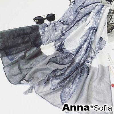 AnnaSofia 線葉恢雙色 流蘇墬披肩圍巾(雙灰藍系)