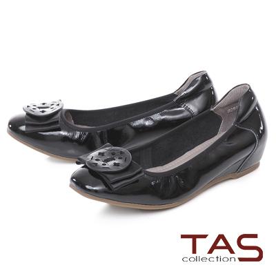 TAS 優雅飾花蝴蝶結內增高娃娃鞋-經典黑