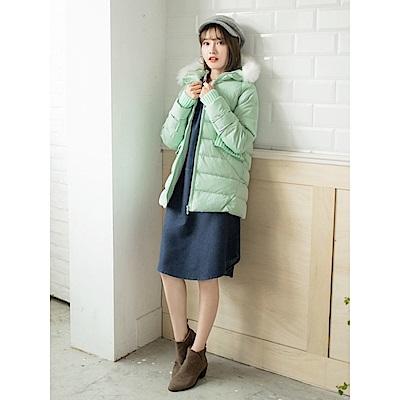 毛領連帽針織羅紋拼接高填充羽絨外套-OB大尺碼