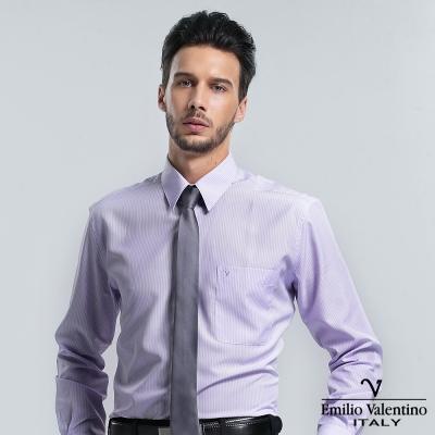 Emilio Valentino 范倫提諾保暖條紋長袖襯衫-紫