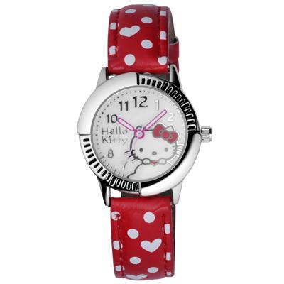 Hello Kitty 雲點朵朵俏麗腕錶-紅/28mm